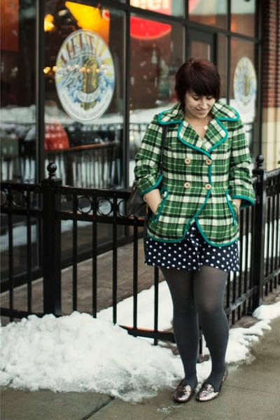 green Anthropologie coat - navy polka dot dress Target dress