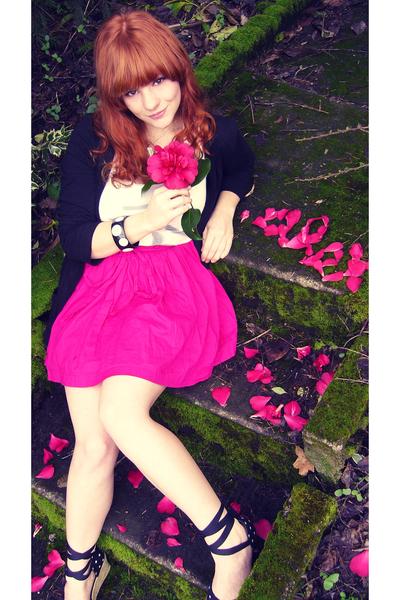 black Forever 21 cardigan - pink Forever 21 skirt - white Forever 21 shirt - bla