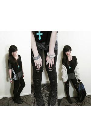 black ecote boots - black ripped jeans thrifted jeans - black gradient shirt For