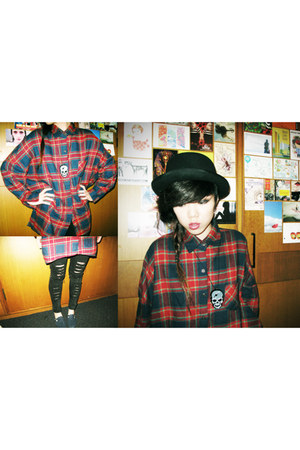 black denim thrifted Hong Kong jeans - black wool H&M hat - brick red plaid cott
