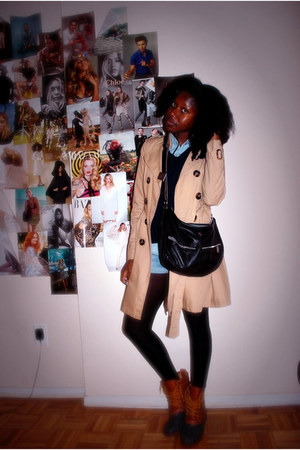blue BDG shorts - tawny BDG boots - tan H&M coat - navy thrifted sweater