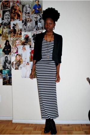 gray striped Forever 21 dress - black Forever 21 blazer - black Coconuts wedges
