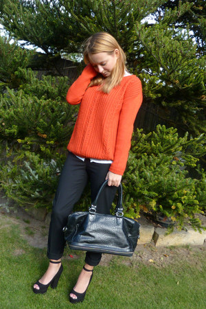 carrot orange sweater - white blouse - black pants