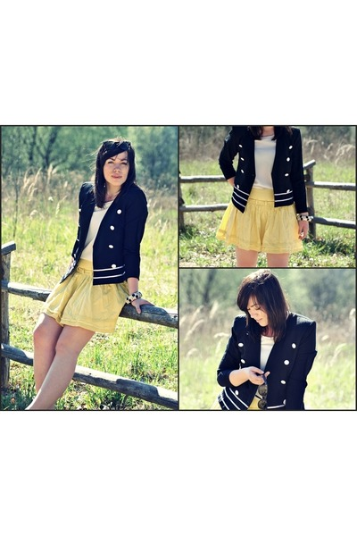 yellow no name skirt - black no name blazer - white no name blouse