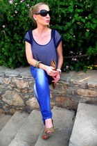 blue Trendy shop jeans - bronze vintage bag - navy Topshop t-shirt - bronze shoe