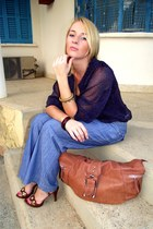 nave blue Zara blouse - no name jeans