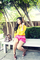 Louis Vuitton purse - hot pink patterned Joe Fresh shorts - brown H&M heels