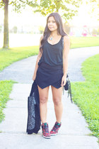 black zipper Rebecca Minkoff bag - black Gap top - black Zara skirt