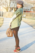 brown vintage hat - army green asymmetrical Club Monaco jacket