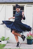 black ballerina H&M skirt - navy tartan Zara shirt