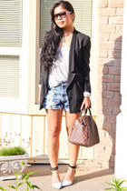 black boyfriend H&M blazer - brown Louis Vuitton purse - ripped Levis shorts