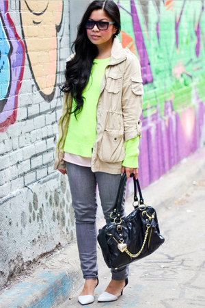 H&amp;M jacket - Old Navy jeans - neon Forever 21 sweater - Aldo purse - Zara heels