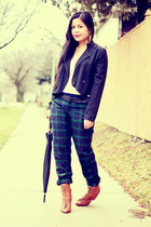 navy plaid Club Monaco pants - tawny lace up Rag and Bone boots