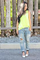 boyfriend Zara jeans - yellow neon H&M top - white Zara heels