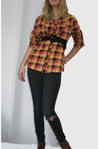 light orange Urban Outfitters shirt - brown leather thrifted boots