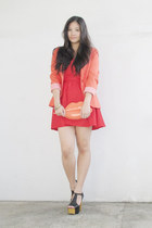carrot orange striped sleeve Tally Weijl blazer - red tube Forever21 dress
