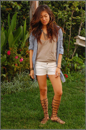 brown Jeffrey Campbell shoes - white Abercrombie shorts - beige American Apparel
