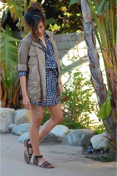 blue Forever 21 dress - brown Gap jacket - brown Forever 21 shoes