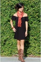forever 21 dress - random boutique scarf - Steve Madden boots - H&M bracelet