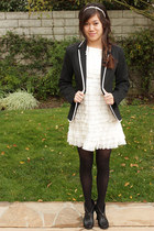 ivory thrifted dress - black Zara blazer - white Forever 21 accessories - black