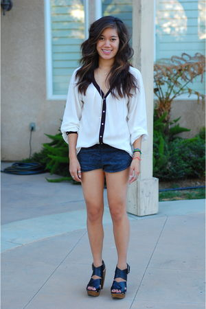 white Zara blouse - silver Forever 21 necklace - gray American Apparel shorts -