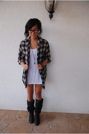 vintage shirt - random boutique dress - Forever21 necklace - Colin Stuart boots
