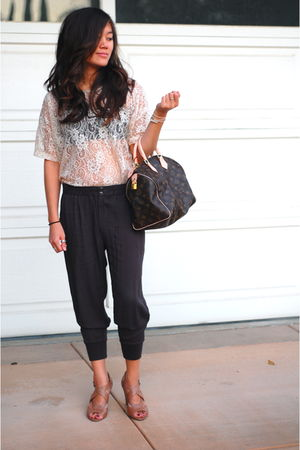 gray Forever 21 pants - beige Forever 21 shirt - brown Louis Vuitton bag - beige