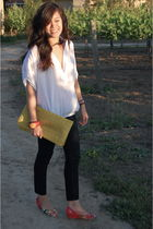 white Forever 21 t-shirt - blue J Brand jeans - yellow vintage bag - red accesso