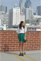 green Forever 21 skirt - dark brown Urban Outfitters boots