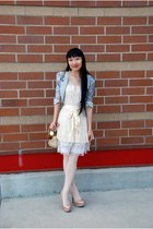 heather gray Ebay blazer - brown Betsey Johnson bag - light pink asos stockings