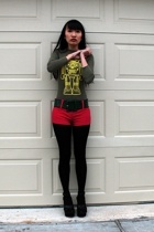 Wet Seal shirt - Forever21 shorts - Secondhand belt - makmechic tights - Latinas