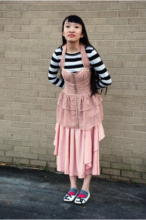 light pink vintage skirt - white Ebay shoes - white Forever 21 sweater
