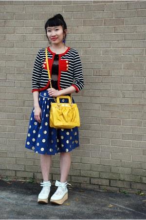 blue Forever 21 skirt - white Ebay shoes - black Ebay jacket