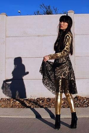 black Qupid shoes - black dress - yellow shirt