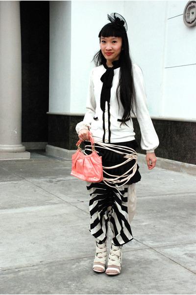 salmon vintage bag - black Forever 21 skirt - ivory twelve by twelve cardigan -
