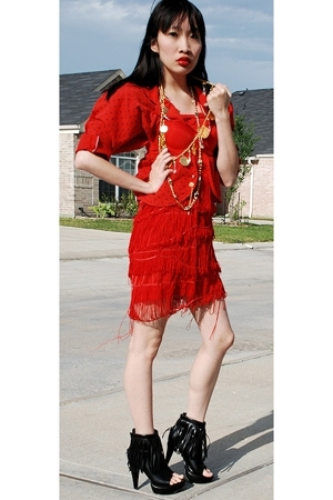 red gift dress - black Forever21 shoes - red vintage blazer