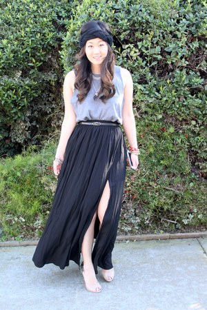 black maxi high slit Forever 21 skirt - heather gray diy Jamerson t-shirt