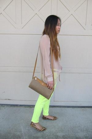 neon Express jeans - vintage Gucci bag - asymmetrical H&M blouse