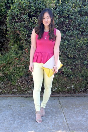 hot pink peplum Zara t-shirt - light yellow ankle zip Forever 21 jeans