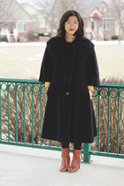 vintage coat - Bandalino boots - sweater vintage dress