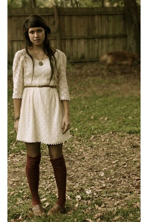 cream lace Miss Chevious dress -  socks - Gap belt - Forever 21 necklace