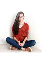 gold Koko & Beau necklace - blue hollister jeans - burnt orange nowIStyle shirt