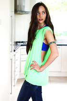blue Forever 21 top - navy hollister jeans - chartreuse inlovewithfashion vest