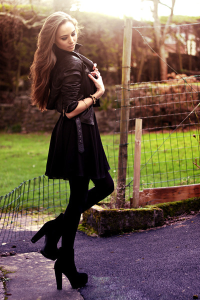 black boots boots - black Love dress - gold bracelets bracelet