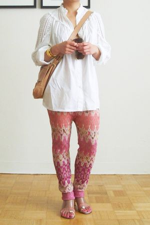 white paul & joe shirt - pink Missoni pants - beige Fendi purse - gold Cecil & J