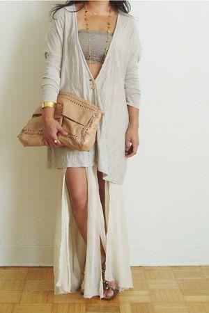 beige H&M cardigan - beige free people intimate - beige Paula Frani skirt - brow