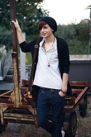 navy skinny Cheap Monday jeans - black Topman hat - off white H&M shirt - dark b