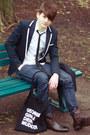 Dark-brown-h-m-boots-blue-skinny-cheap-monday-jeans-navy-marine-zara-blazer-