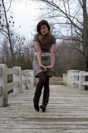 beige Old Navy shirt - beige Old Navy skirt - brown Target tights - brown Diba b