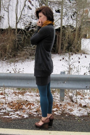 gray J Crew cardigan - gray Forever 21 skirt - blue Gap tights - brown Jessica S